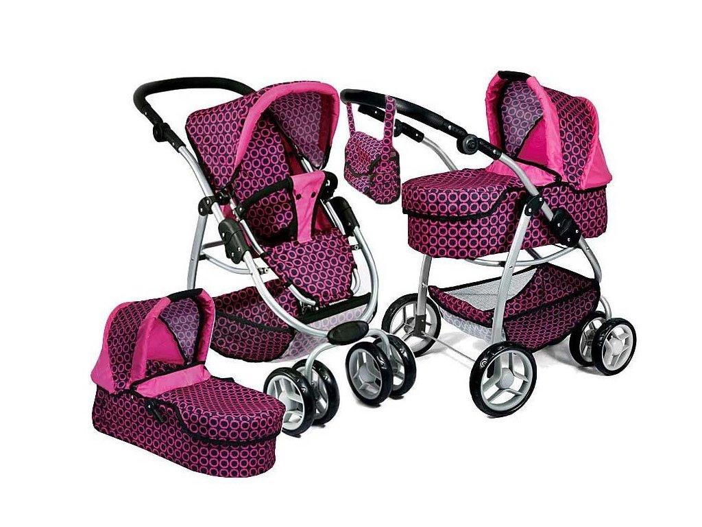 Doris velký sportovní kočárek pro panenky 3v1 9662 Růžovo černý vzor