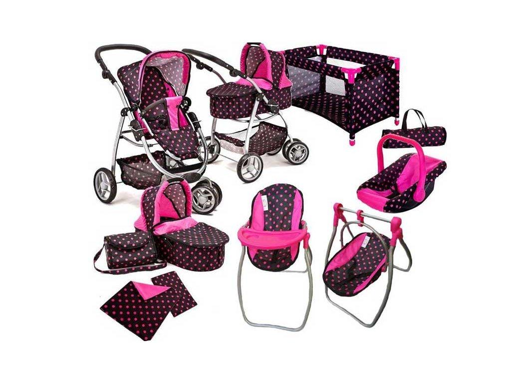 Doris kočárek pro panenky 9v1 růžový
