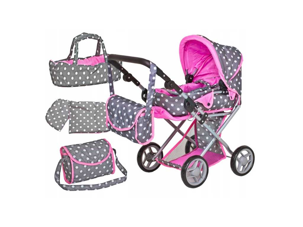 Doris kočárek pro panenky kombinovaný 9346 šedo růžový