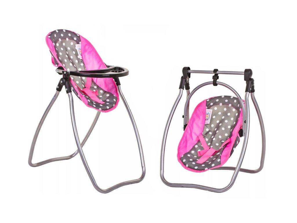 Doris jídelní židlička a houpačka 2v1 šedo růžová