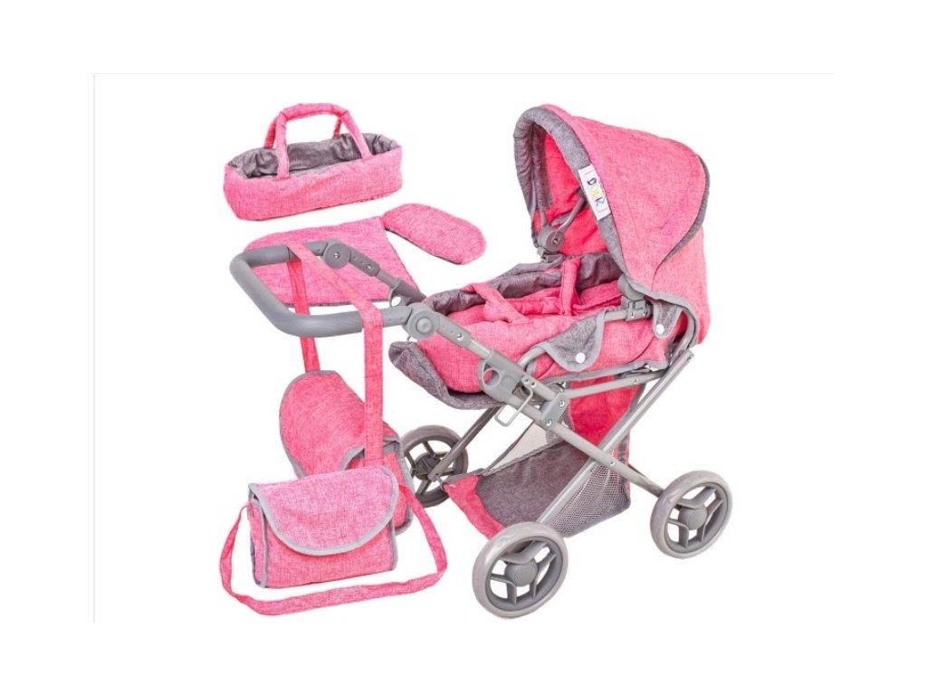 Tobiland kočárek pro panenky 9346 pastelová růžová