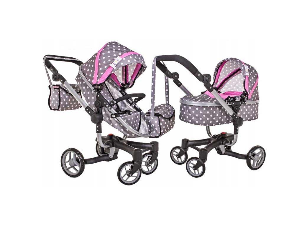Doris kočárek pro panenky 9694 šedo růžový