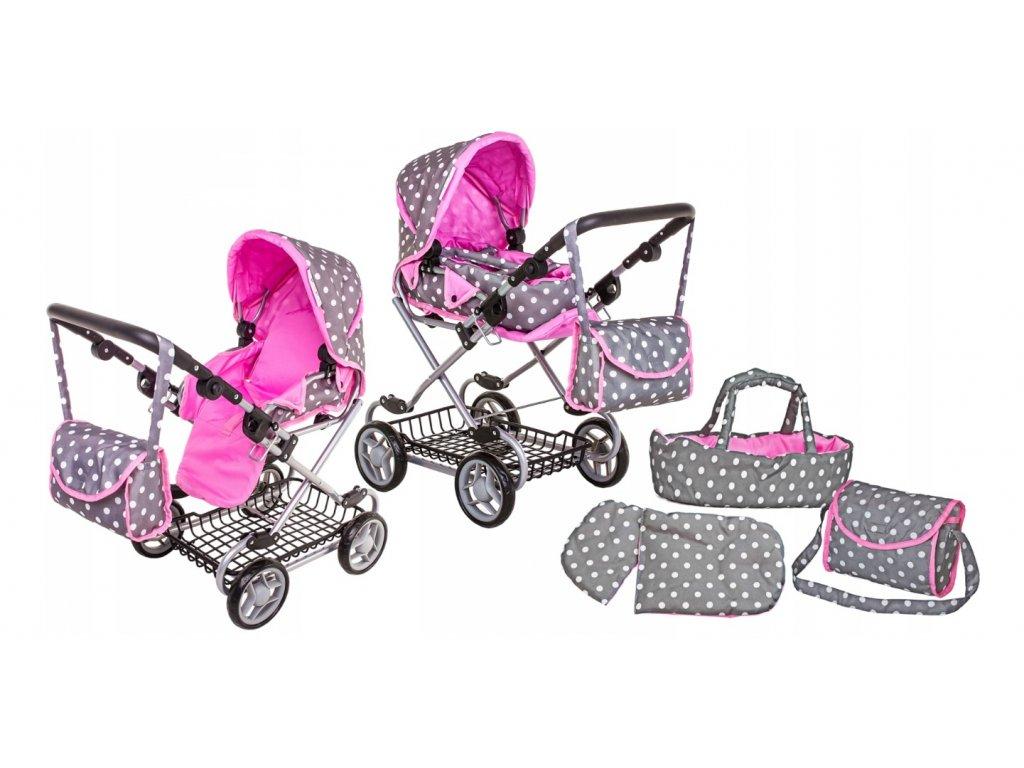Doris kočárek pro panenky kombinovaný 9346W šedo růžový vyšší verze