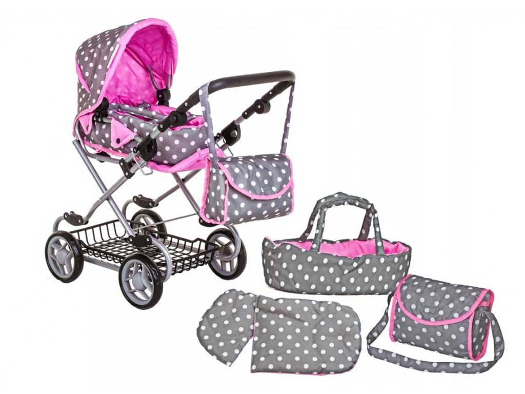 9346w kočárek pro panenky Doris šedo růžový