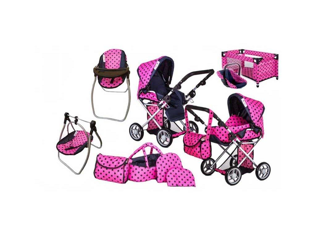 Doris kočárek pro panenky 9346 Tobi set 9v1 růžový