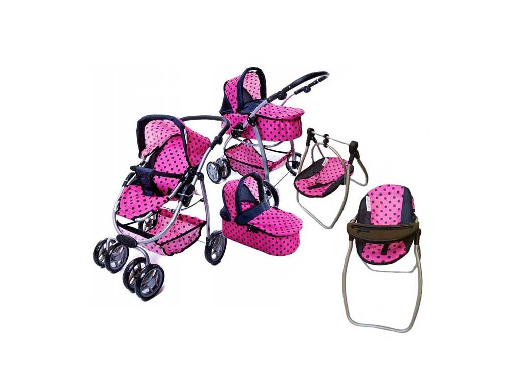 Doris kočárek pro panenky 9662 6v1 růžový