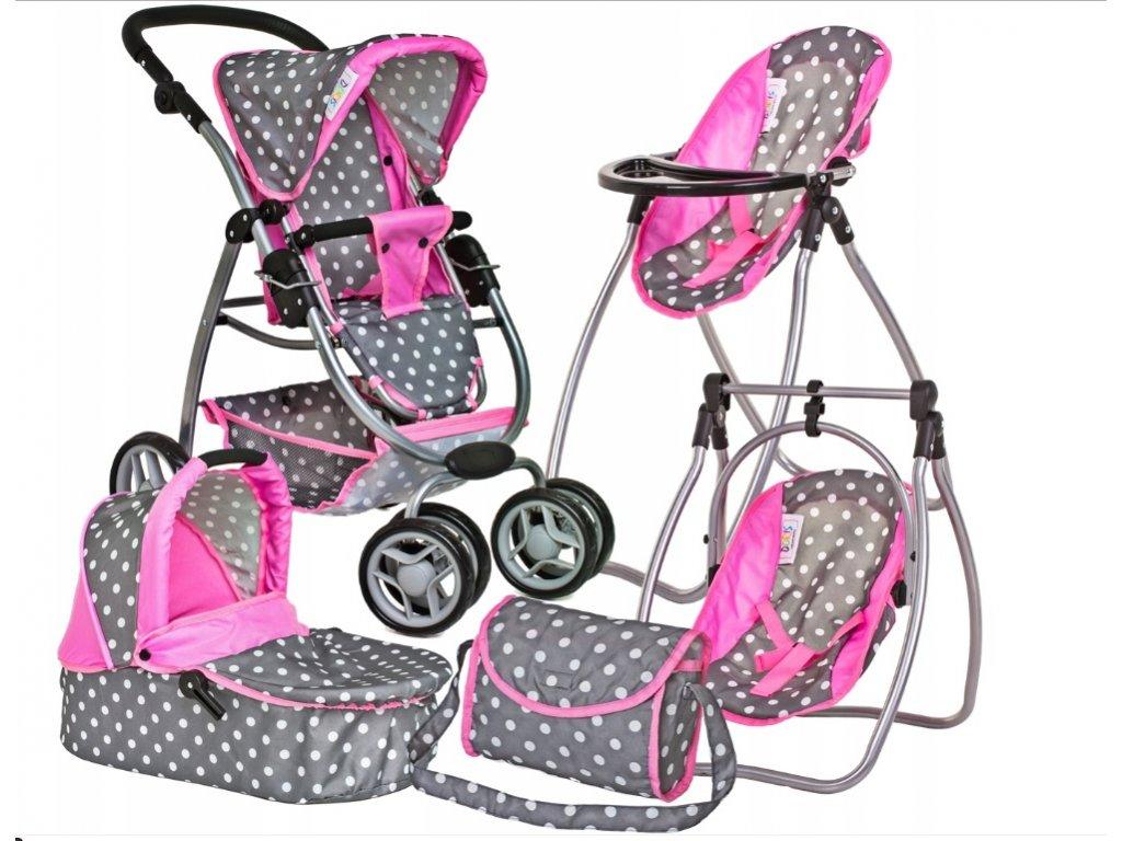 Doris kočárek pro panenky 9662 6v1 šedo-růžový