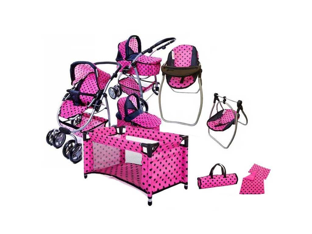 Doris kočárek pro panenky 9662 + sestava 8v1 růžový