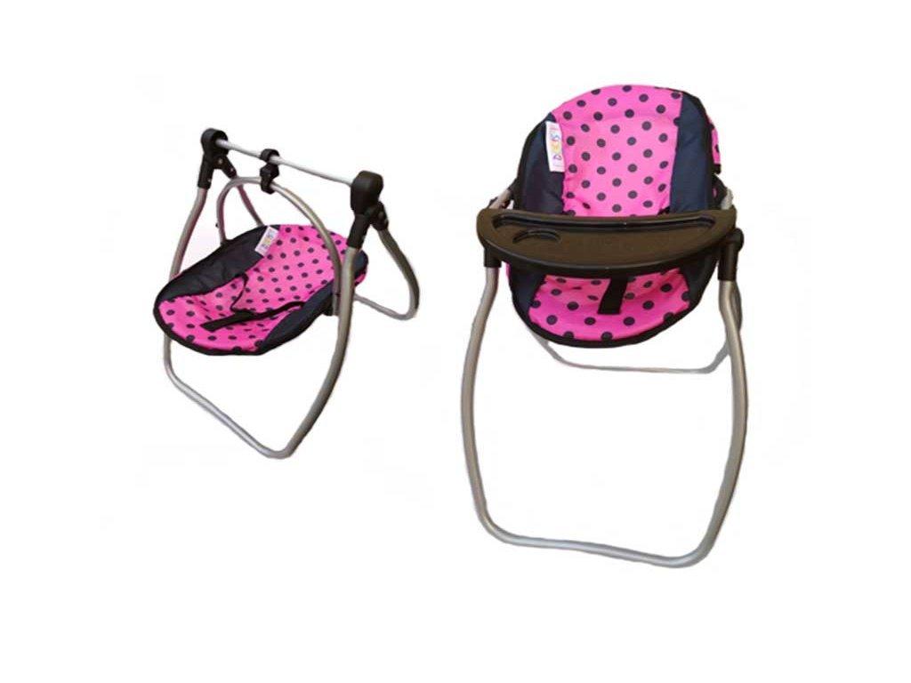 Doris jídelní židlička a houpačka 2v1 růžová