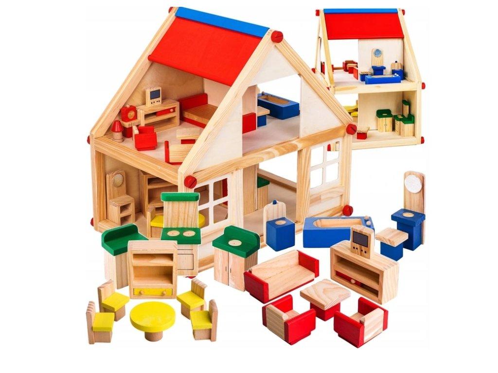 Doris dřevěný domeček s nábytkem 24 kusů 35 cm
