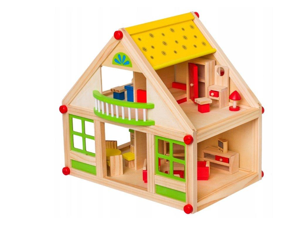 Doris dřevěný domeček s nábytkem 24 kusů zelený - 35 cm