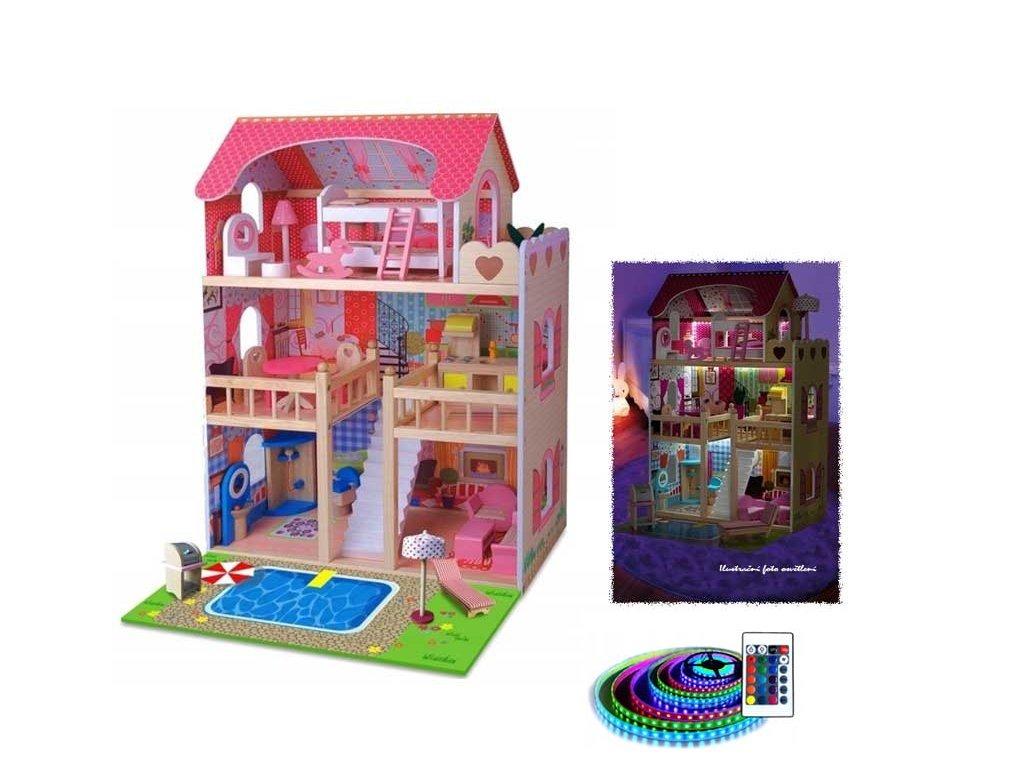 Doris dřevěný domeček pro panenku s LED páskem a ovládačem růžový 90 cm 2020