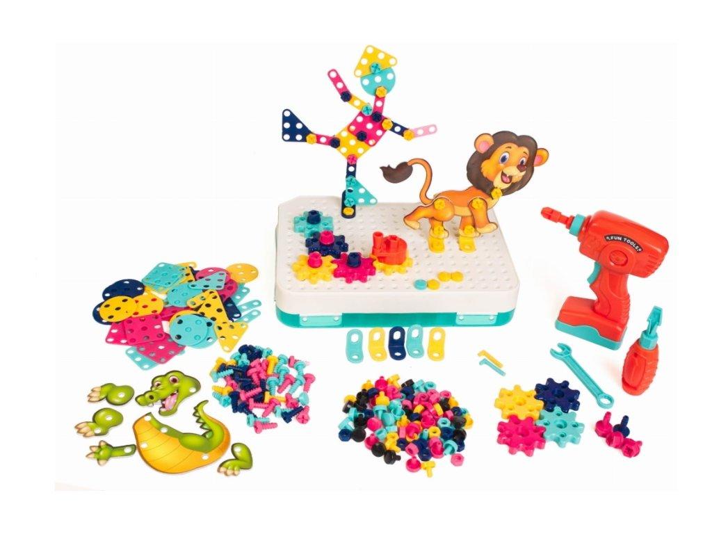 Doris mozaika plastové bloky + šroubovák 216 dílků