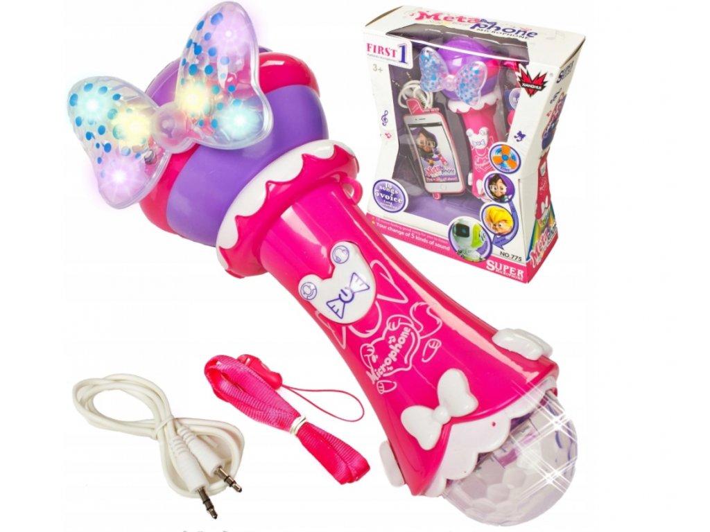 LED hrací dětský mikrofon 3v1 růžový