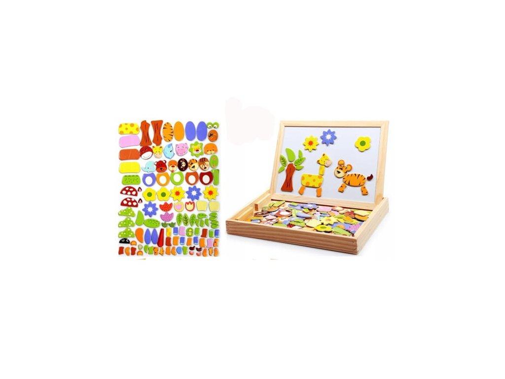 Dřevěná magnetická tabulka s magnetkami 3v1 žirafa