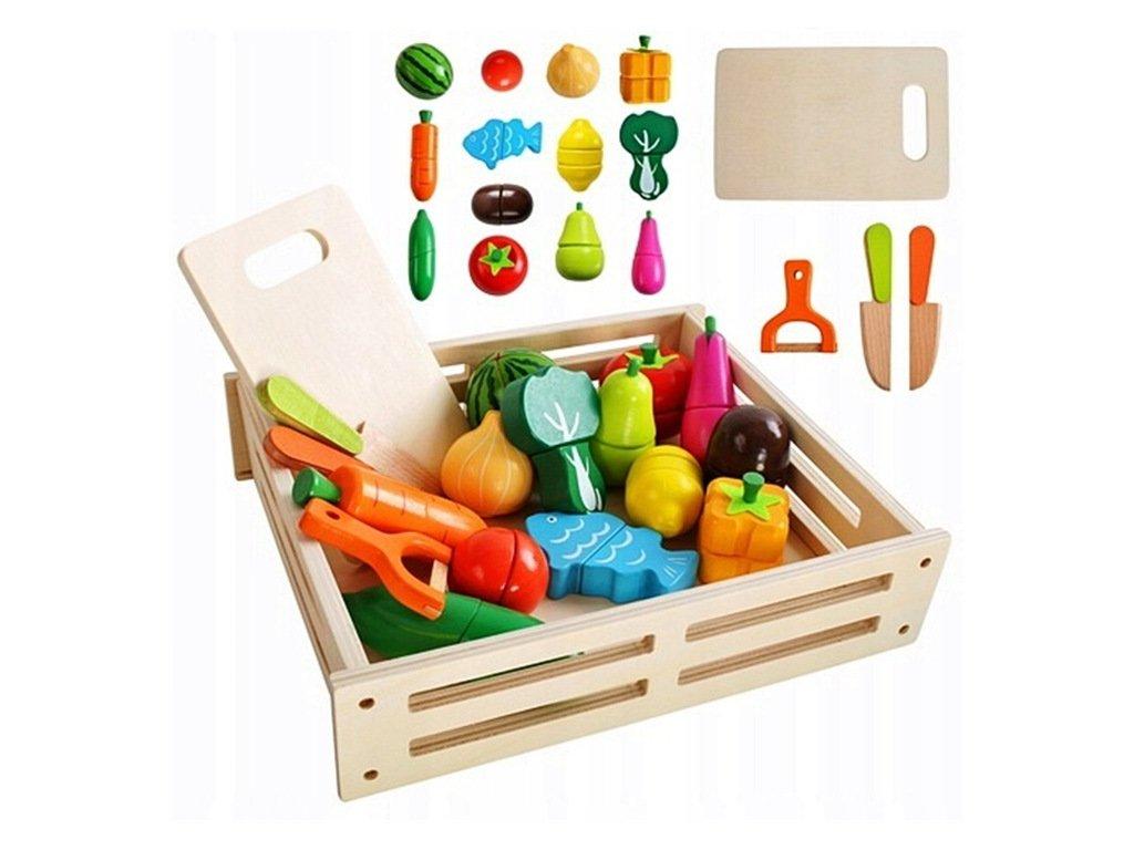 Dřevěná zelenina ovoce k řezání na magnet