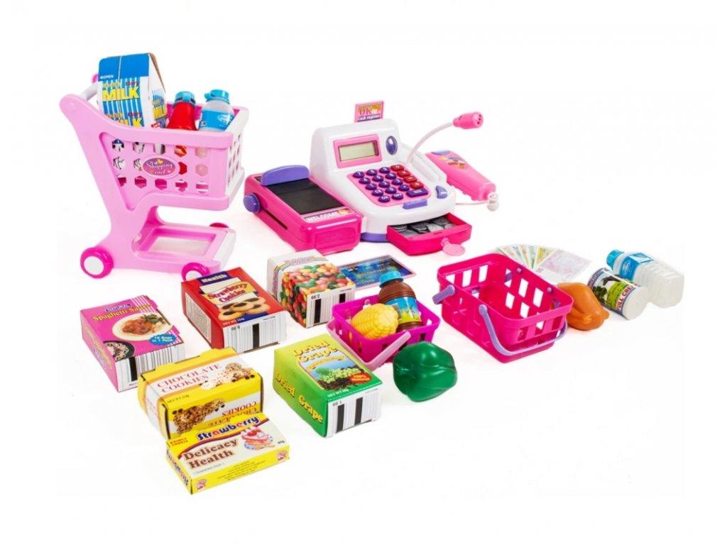 Dětská pokladna v sadě s košíkem, vozíkem a příslušenstvím růžová