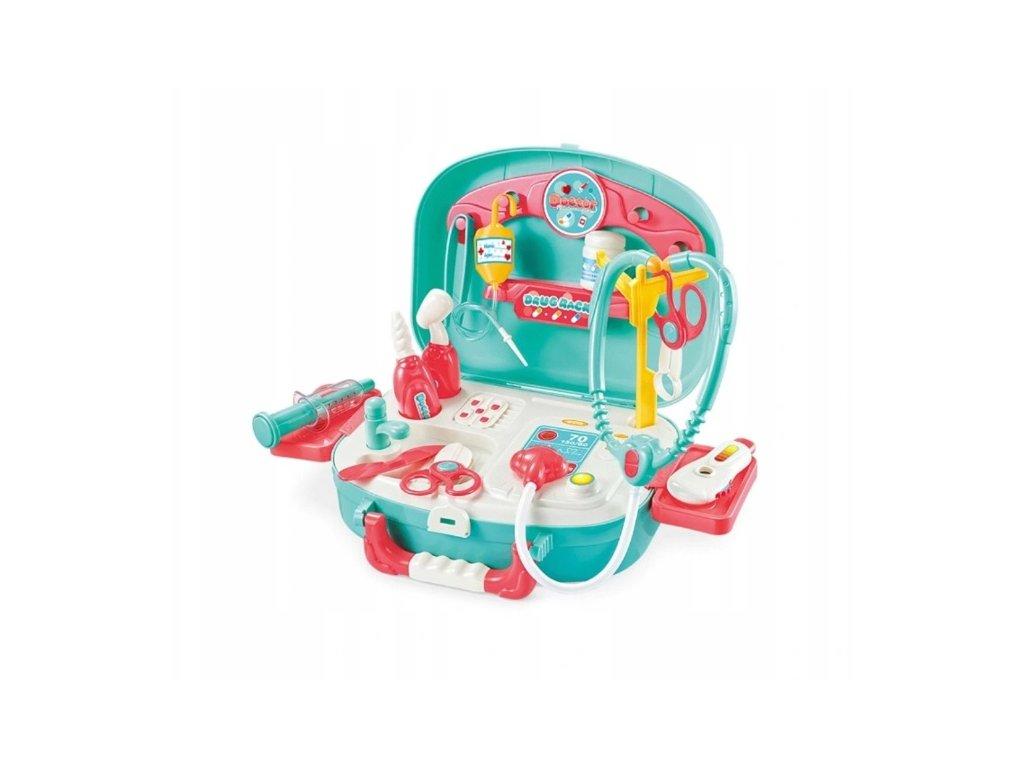 Dětský doktorský lékařský kufřík s příslušenstvím tyrkysový