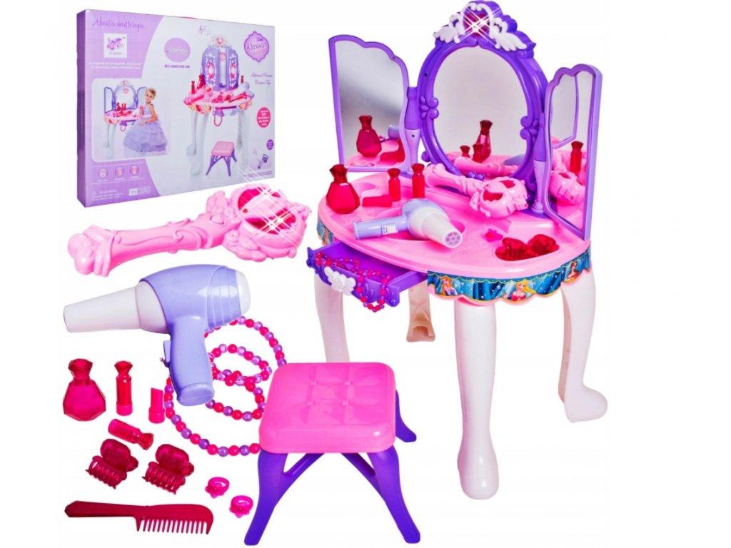 Dětský kosmetický stolek s příslušenstvím fialový
