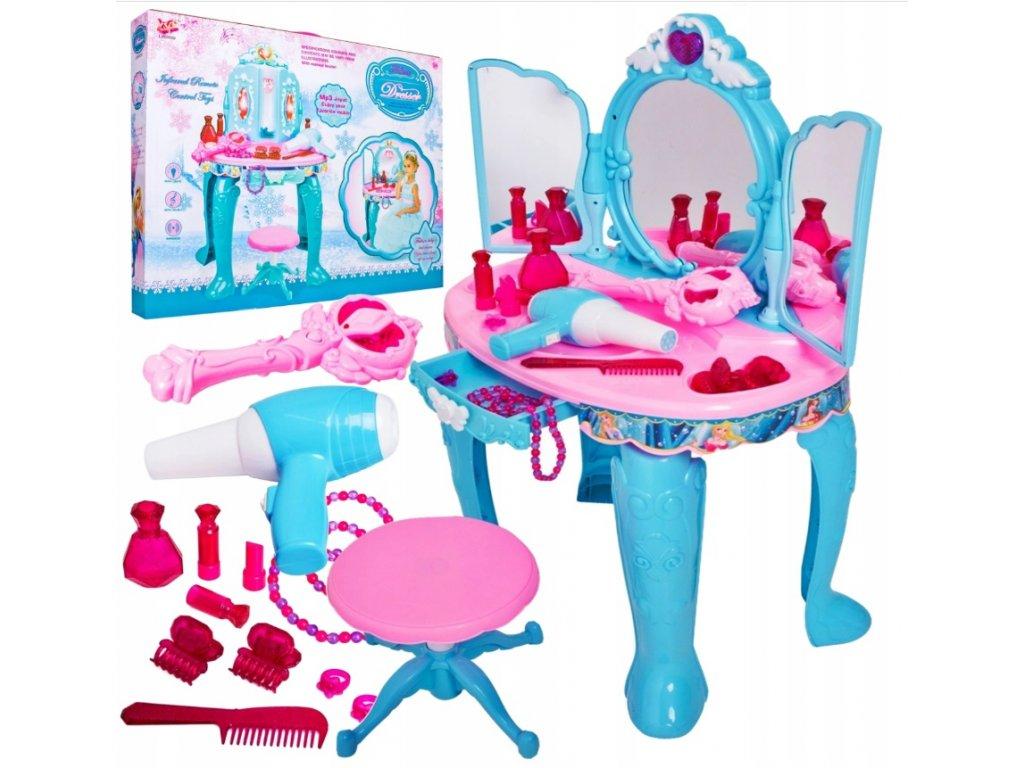 Dětský kosmetický stolek s příslušenstvím modrý