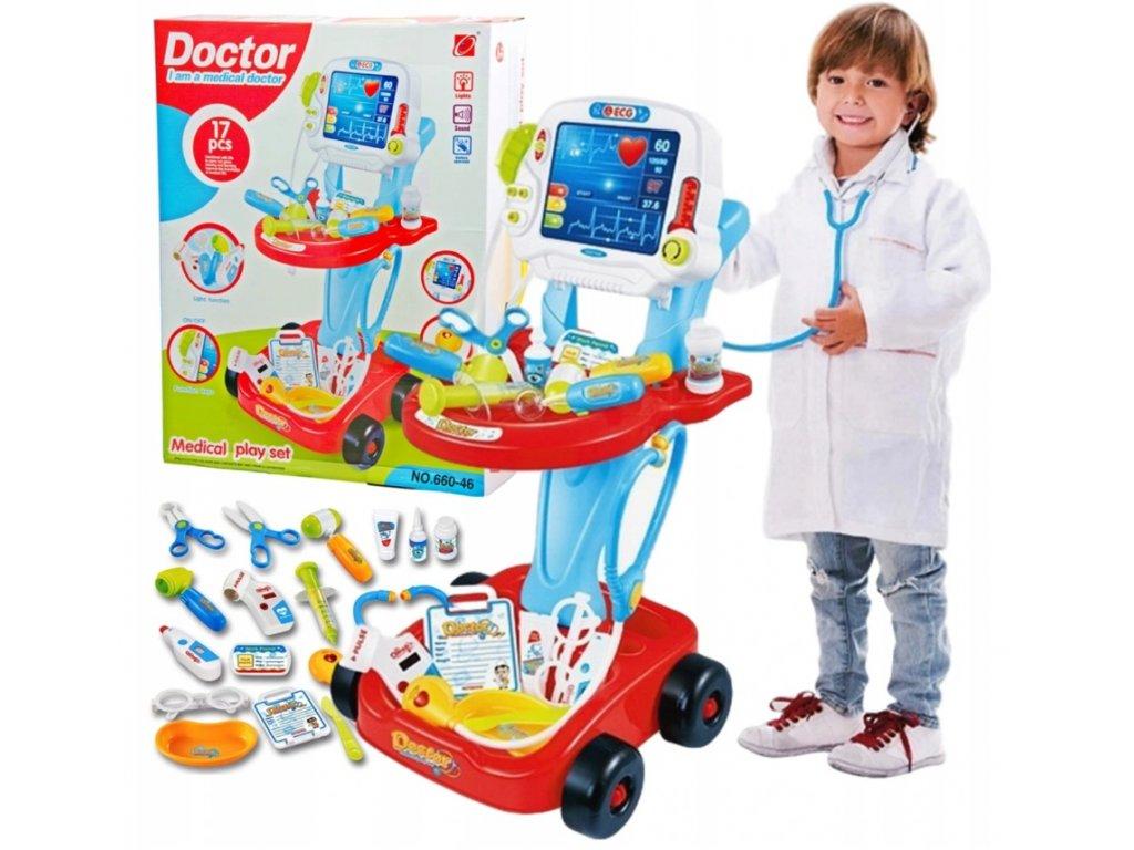 Dětský lékařský vozík 3v1 s monitorem a příslušenstvím modrý