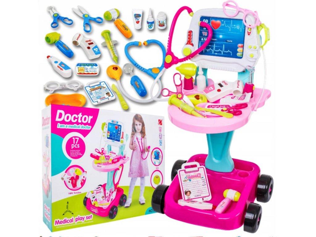 Dětský lékařský vozík 3v1 s monitorem a příslušenstvím růžový