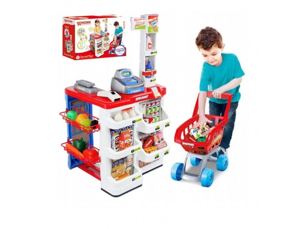 Dětský prodejní stánek s nákupním vozíkem a příslušenstvím červený