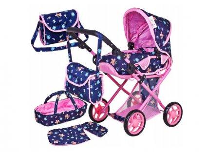 Doris kočárek pro panenky kombinovaný 9346 modrý s motýlkama