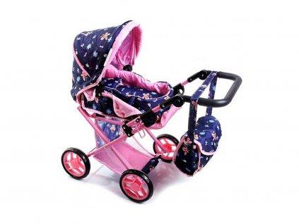 Doris kočárek pro panenky 9346 modrý s motýlkama