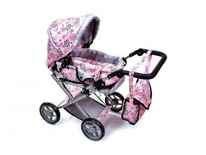 Doris kočárek pro panenky 9346 světle růžový s kytičkami