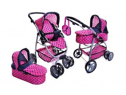 Doris kočárek pro panenky 9662 růžový s puntíkama
