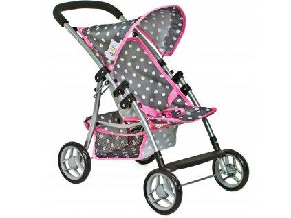 Doris golfový kočík pre bábiky 9304 šedo ružový