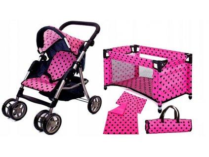 Doris kočárek pro panenky 9352 v 4v1 růžový