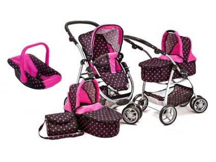 Doris kočárek pro panenky 9662 s nosítkem 4v1 černý