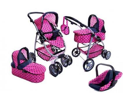 Doris kočárek pro panenky 9662 s nosítkem 4v1 růžový