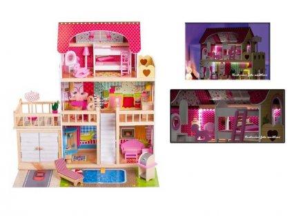 Doris dřevěný domeček pro panenku s terasou, garáží a LED páskem růžový 90 cm
