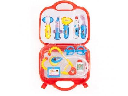 Doktorský lékařský kufřík s příslušenstvím červený