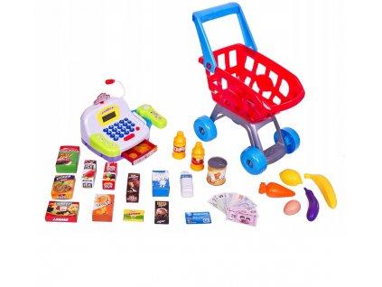 Dětská pokladna v sadě s nákupním košíkem a příslušenstvím žlutá