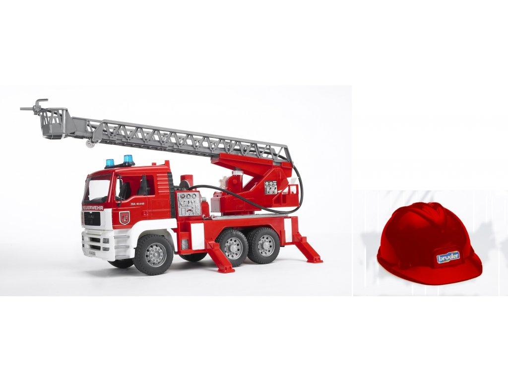 BRUDER 1981 Nákl.auto MAN-požární žebřík + helma červená