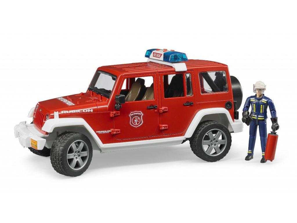 BRUDER 2528 Červený požární vůz Jeep Wrangler s figurkou hasiče