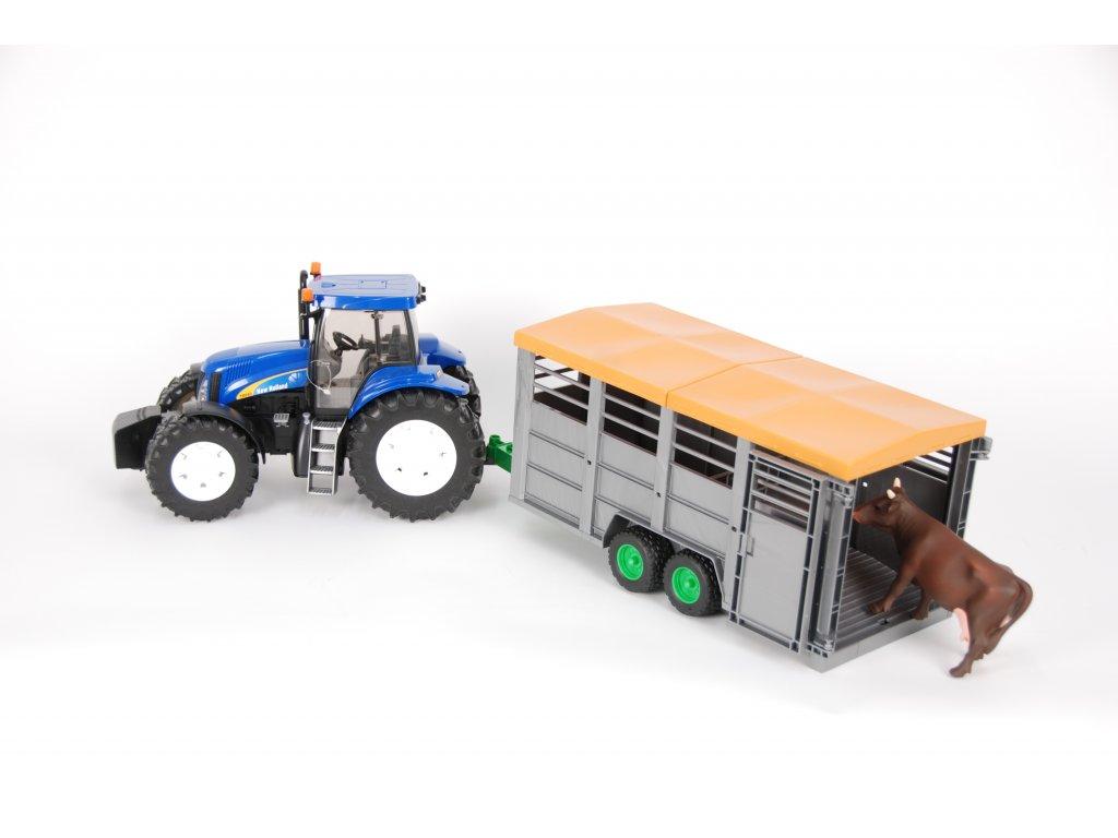 BRUDER 1695 Traktor New Holland T8040 s přívěsem na dobytek + 1ks kráva