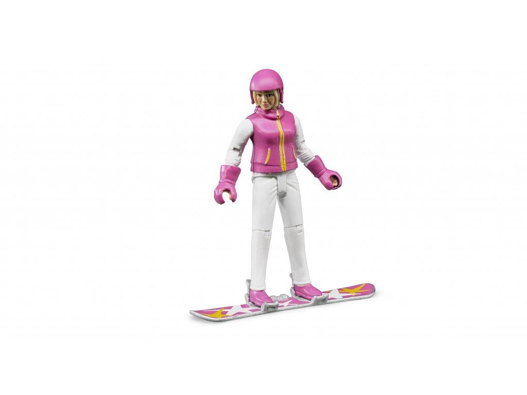 BRUDER 60420 Figurka - snowbordistka s příslušenstvím