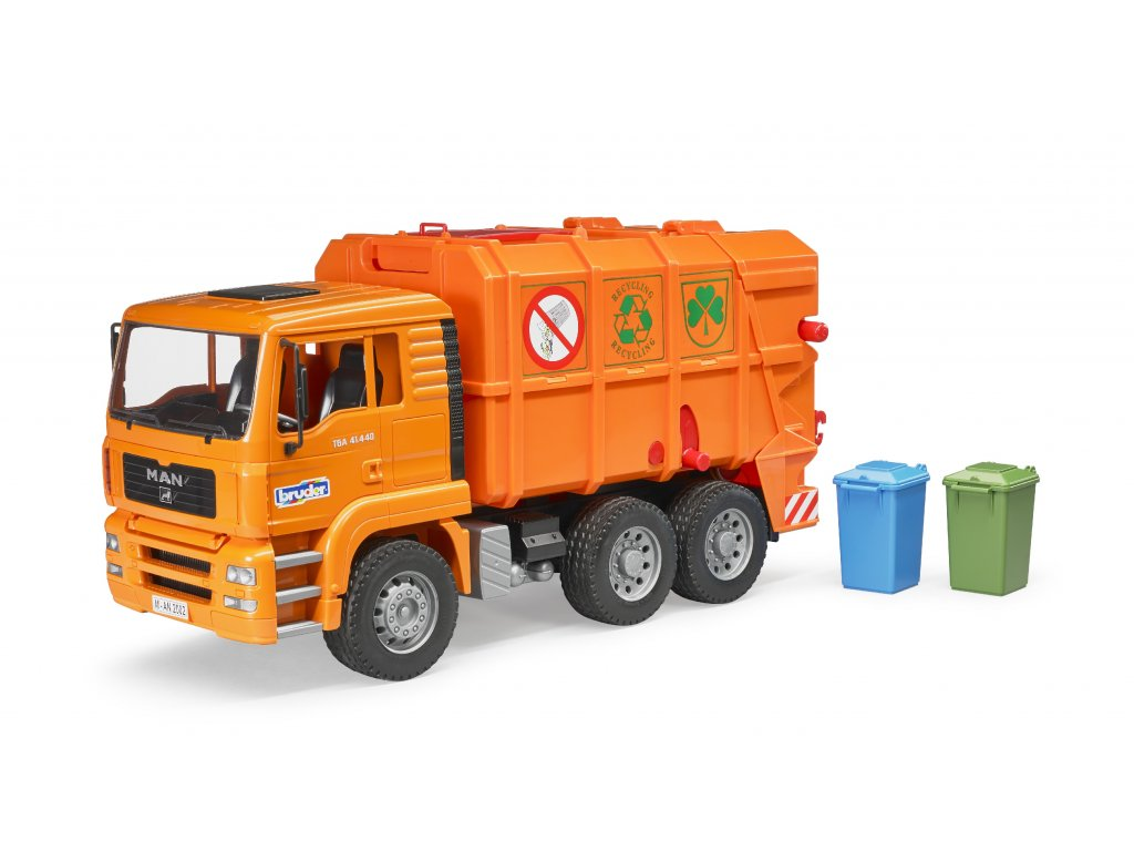 BRUDER 2760 Nákl.auto MAN-TGA - popelář, oranžový