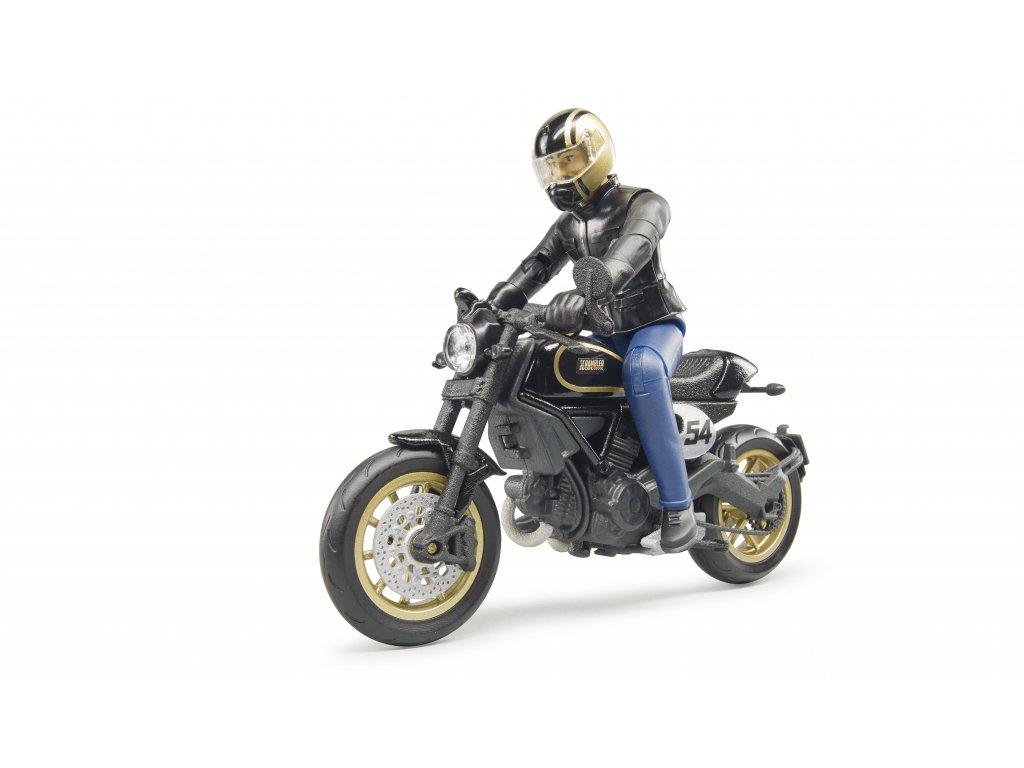BRUDER 63050 Figurka + motorka Ducati Scrambler Cafe Racer