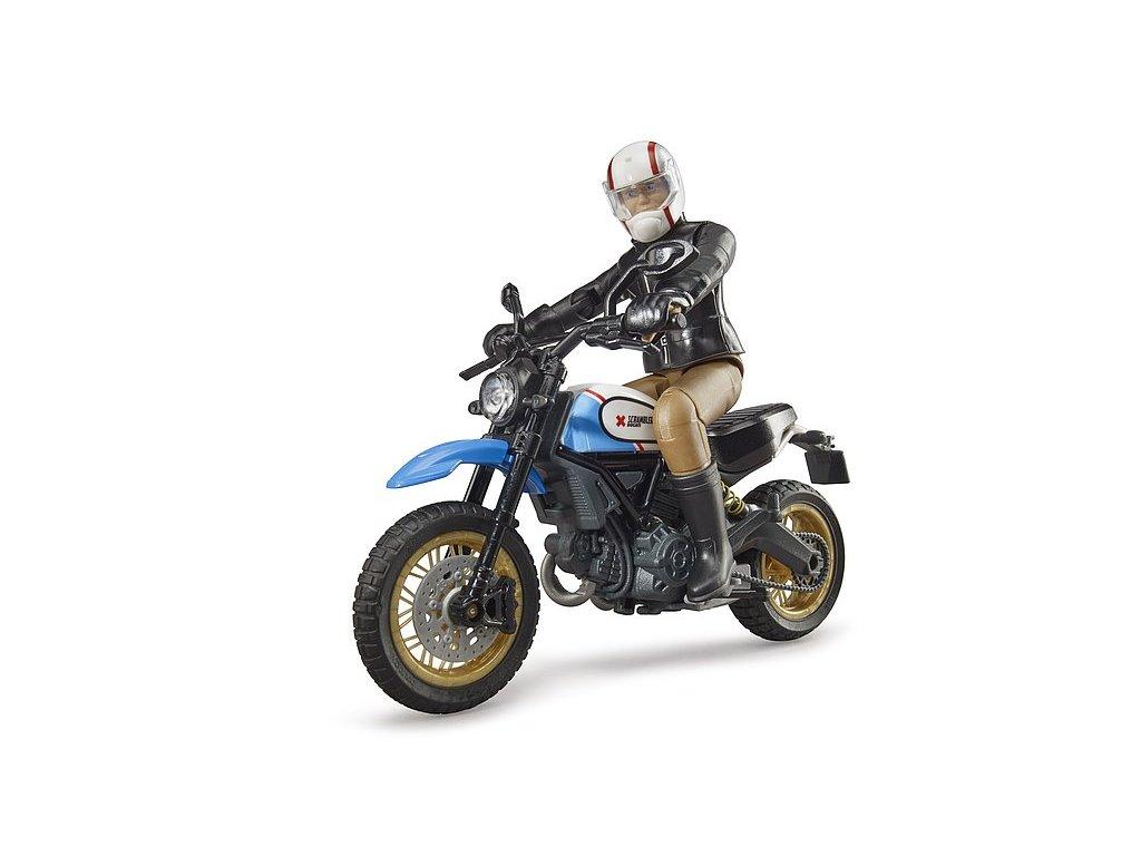 BRUDER 63051 Figurka + motorka Ducati Scrambler Desert Sled