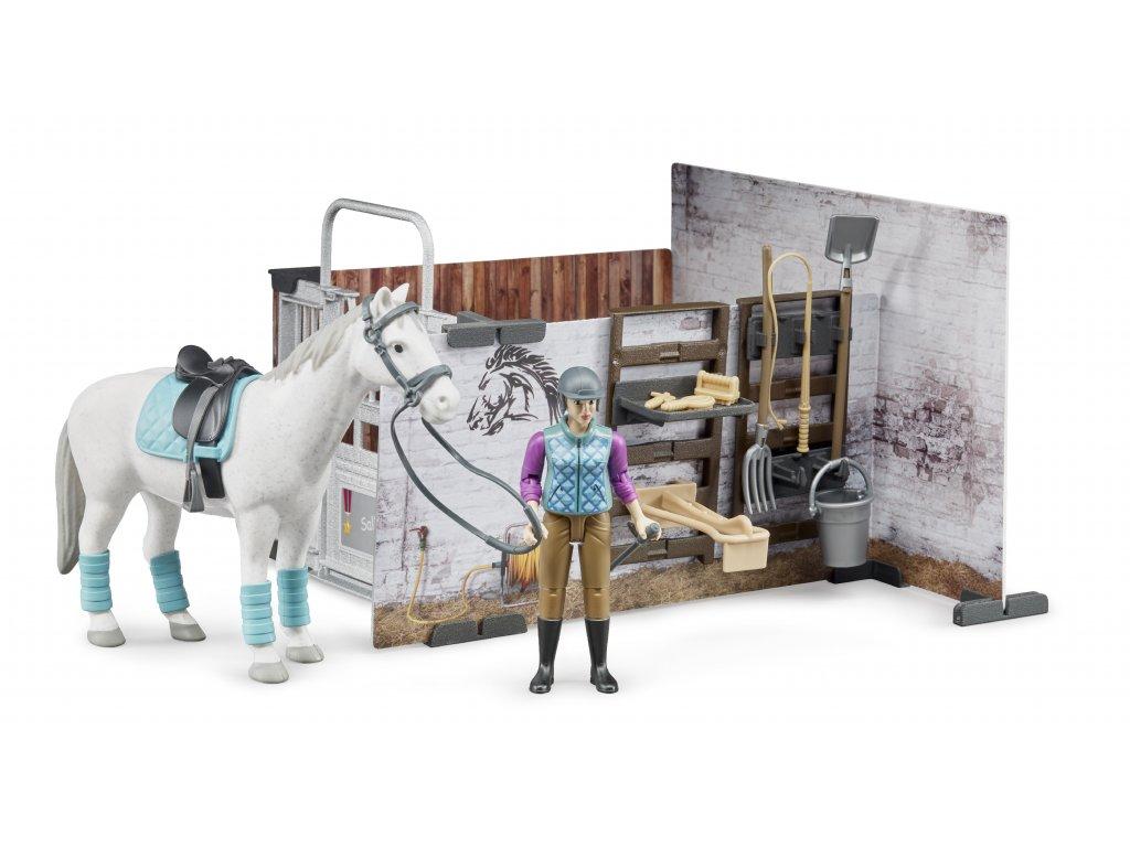BRUDER 62506 Stáj s příslušenstvím,figurka,kůn