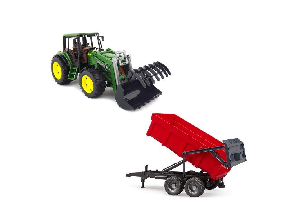 BRUDER 1127 Traktor John Deere 6920 s nakladačem a červeným valníkem