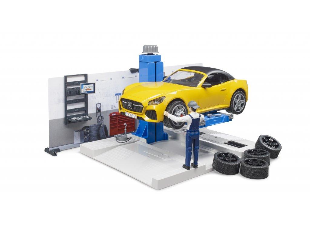 BRUDER 62110 bworld - Autodílna,auto,zvedák, figurka