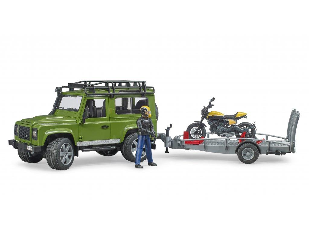 BRUDER 2589 Land Rover Defender ,přepravník, figurka, motocykl