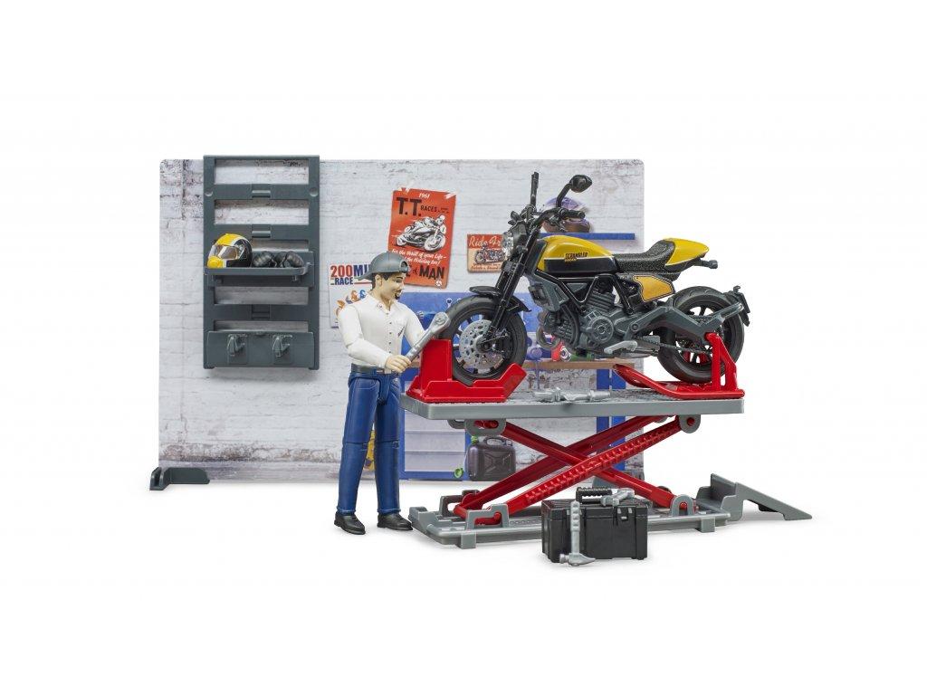 BRUDER 62102 Motodílna + motocykl Ducati + figurka